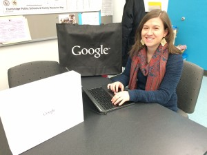 """Our intern, Suzy Roberts, showing the Chromebook LTE (you don't need WiFi to use it, and it has a touchscreen!) we're raffling in the """"March of the Ducklings."""""""