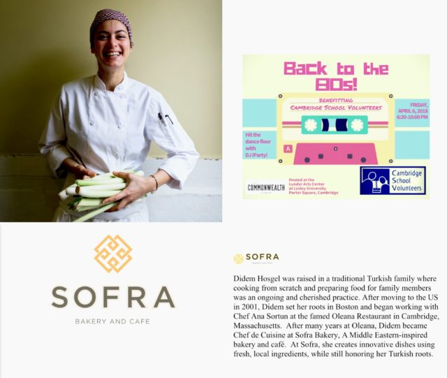 woman in chef whites and Sofra restaurant logo